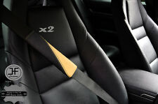 2X BLACK & BEIGE LEATHER TWO TONE LUXURY SHOULDER SEAT BELT PADDED PADS