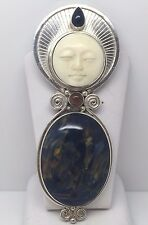 SAJEN STERLING SILVER CARVED GODDESS MOON FACE PENDANT/PIN