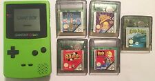NINTENDO GAME BOY COLOR GBC NGBC LIME CONSOLE +5 GAMES BOB TWEETY POTTER MICKEY