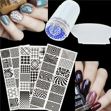 4Pcs BORN PRETTY Nail Art Stamping Image Plates Stamp Stamper Scraper DIY Kit