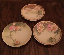 R.S. Tillowitz Silesia/Germany Vintage Set of 3  Handpainted Dessert Plates
