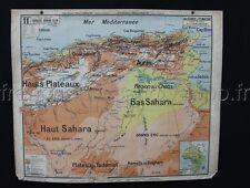 L746 Carte scolaire Lablache Algerie Tunisie Politique Physique 11 Sahara Tunis