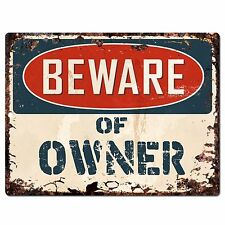 PP0635 Vintage Beware of OWNER Plate Chic Sign Home Room Store Decor Gift
