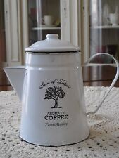 New FRENCH Shabby Chic Vintage Style Enamel Metal WHITE Coffee Teapot Kettle