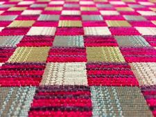 QUALITY DEEP FUSCHIA PINK PURPLE CHECK UPHOLSTERY CURTAIN FABRIC MATERIAL SALE!