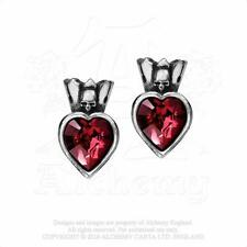 ALCHEMY GOTHIC - CLADDAGH HEART STUD EARRINGS - GOTH LOVE CROWN IRELAND