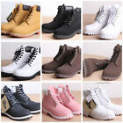 Women Chunky Low Heel Military Boot Creeper Lace Up Round Toe Ankle Combat Boots