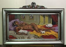 "Vintage Oil Painting O/C African American "" SLEEPING NUDE with CATS "" Listed  --"