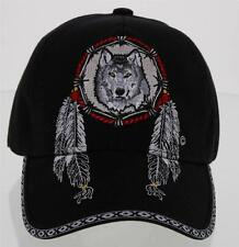 NEW! NATIVE PRIDE BIG FEATHERS WOLF BALL CAP HAT BLACK