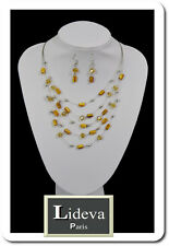 Set Kette Ohrringe Halskette Schmuckset Paris Tigerauge Perlen Glas Edelsteine