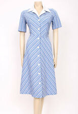 Original VINTAGE 1970's 70's BLUE WHITE COLLARS STRIPES MOD DAY DRESS! UK 10