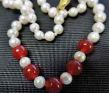 """7-8mm/8MM Size White Pearl Red Jade Womens Jewelry Necklace 18""""AYP"""