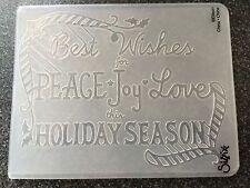 Sizzix Texture a2 Large Cartella Goffratura stagione delle vacanze FRASE nuovo Natale