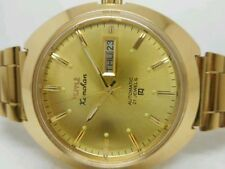 Vintage Hmt Kanchan 6500 Automatic Gold Plated Mens Day Date Wrist Watch Run.
