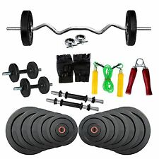 Fitfly Home Gym Set 20kg Weight 3ft Curl Rod Skipping All Accessories