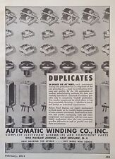 VINTAGE 1944 AD(F15)~AUTOMATIC WINDING CO. E. NEWARK, NJ. ELECTRONIC COMPONENT'S