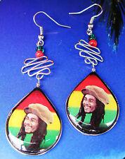 Reggae Dreadlock Rasta Bob Marley Smile Hecho A Mano Alpaca pendientes 4,5 X 7cm