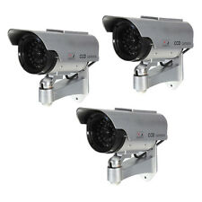 3X Solar Power Fake Dummy Security CCTV Camera Waterproof Surveillance Silver JQ