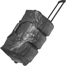 "Black 24"" Leather Rolling Duffle Bag, Mens Overnight Luggage Suitcase Tote Case"