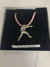 Boxer Sport PP-SP14 Pewter Pendant on a PINK CORD Necklace