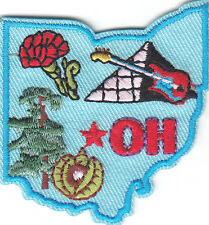 """""""OH"""" - OHIO STATE SHAPE - Iron On Embroidered Applique Patch/Midwestern State,"""