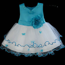 WHITE BABY FLOWER GIRL DRESS WEDDING PAGEANT TODDLER KIDS RECITAL 6-9M 12-18M 2