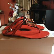 Burberry Reason Bright Coral Red Womens Sandals Sz 40 M NWB