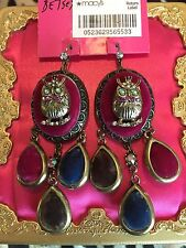 Betsey Johnson Woodland Creatures Fall Velvet Renaissance Owl Cameo Earrings