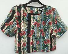 New With Tags GLAMOROUS - BLACK MULTI-COLOUR FLORAL STRIPE BOX TOP - SIZE 12