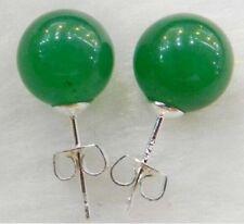 New 10mm Jewelry Green Jade & Sterling Silver Stud Earrings