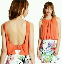 GUESS BY MARCIANO ORANGE Cherie Bubble Top SIZE S