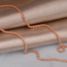 Bling 20INCH Authentic 18K Rose Gold Necklace 1.8mm Rope Link Chain