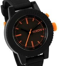 Nixon Women's Gogo Black/Orange Polyurethane Strap Watch A287583 New