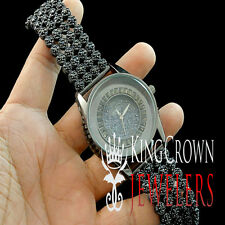 Rapper Style All Black Iced Out Sensuous Lab Diamond Watch Cluster Bezel Band