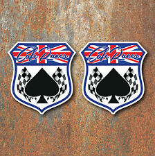 CAFE RACER UNION JACK SPADE CHEQUERED FLAG STICKERS x2 100x95mm Motorcycle Biker