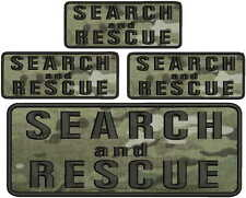 4 Search and Rescue embroidery patches 4x10 and 3X 2x5  hook on back multicam