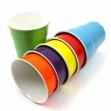 Party Cups Porcelain Set Of 6 Bright Retro Vintage Drink Plain Dining