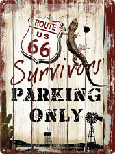 Route 66 Survivors Parking Only Blechschild Schild Blech Tin Sign 30 x 40 cm