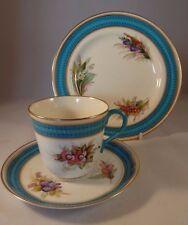 Royal Worcester Blue Gilded Floral Hand Painted Trio 1880 Teacup Saucer Plate VG