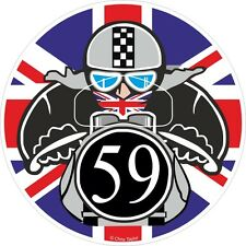 Union Jack ROUNDEL No. 59 CAFE RACER Ton Up Club motorbike retro sticker decal