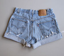 Vintage Levi's Cut Off Denim Shorts Loose Fit Boyfriend Jeans Blue 32""