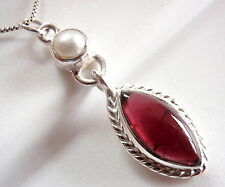 Garnet and Cultured Pearl Rope Style Accent Pendant 925 Sterling Silver New