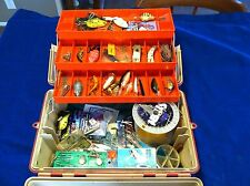 OLD VINTAGE FLAMBEAU ADVENTURER FISHING TACKLE BOX WITH LOTS OF LURES INCLUDED