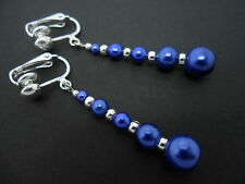 A PAIR OF DANGLY COBALT BLUE GLASS PEARL  SILVER PLATED CLIP ON   EARRINGS.