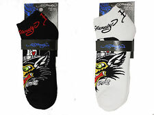 NWT UNISEX LOT OF 2 ED HARDY WOLF SPORT HAPPY SOCKS -BLACK / WHITE-SZ-10~13