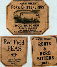 Red Field Peas Primitive Country Farmhouse Pantry Labels