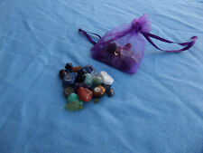 Chakra Bag natural crystal small gemstones LOT +Organza carry pouch reiki wiccan