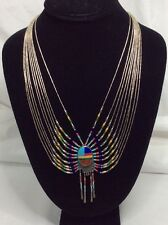 Navajo Rising Sun Sterling And Multi Color stone Necklace (j419)