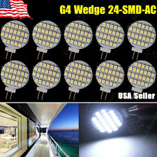 10x 12V AC/DC G4 Base Disc Type Side Pin 24-SMD Reading Marine Boat RV LED Light