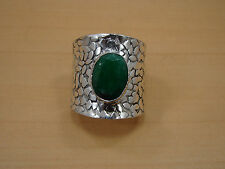 925 SILVER PLATED FACETED GREEN EMERALD BIG ADJUSTABLE RING JEWELRY V00251